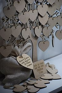 Wishing Tree Small Wooden Guest Book - guest books