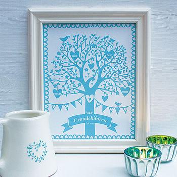 Personalised Grandchildren Family Tree Print