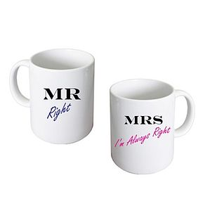 Mr Right & Mrs Always Right Mugs - mugs