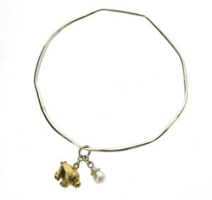 Gold Vermeil Pig And Pearl Bangle