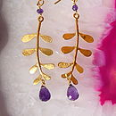 Gold Plated Evie Leaf Earrings with Amethys5