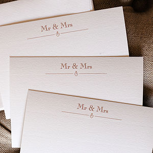 Set Of 15 Copper Heart 'Mr And Mrs' Cards