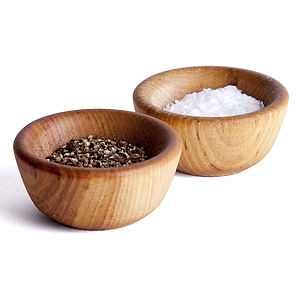 Salt And Pepper Wooden Pinch Bowls - dining room