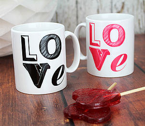 Love Font Mug - crockery & chinaware