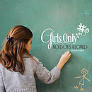 Girls Only Wall Sticker Decoration
