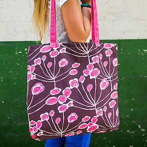 Floral Sprigs Canvas Shopper Bag - beach bags