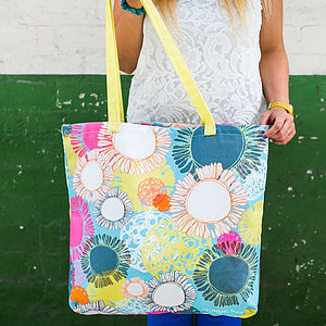 Layered Shapes Canvas Shopper Bag - beach bags