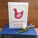 Embroidered Pink Bird Baby Card