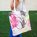 Organic Retro Leaves Canvas Shopper Bag