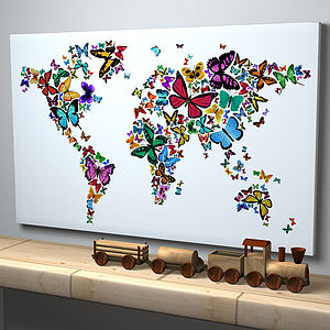 Butteflies Map Of The World Art Print - canvas prints & art