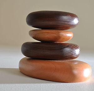 Pebbles Hardwood Stacking Tealight Holder - candles & candlesticks