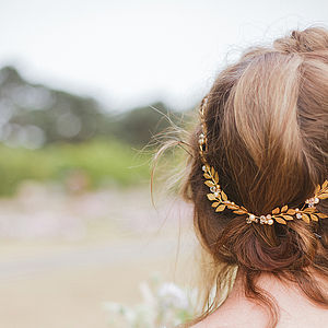 Golden Laurel Leaf Wreath Bridal Hair Vine - head pieces