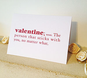 'Valentine' Dictionary Definition Valentine's Day Card - valentine's cards