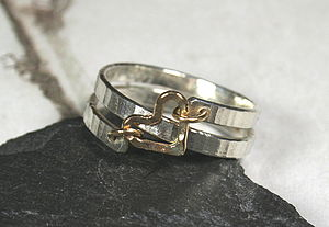 Hammered Silver Ring With Gold Heart - rings