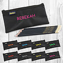 Black Pencil Case And Six Pencil Set