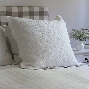 Grace Large White Quilted Pillowcase - cushions