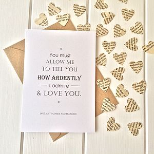 Pride And Prejudice Valentines Card - shop by category