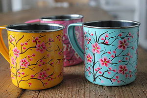 Hand Painted Stainless Steel Mug - picnicware