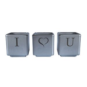 I Heart You Tealight Candle Holder Set - table decorations