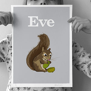 Personalised 'Squirrel' Print - pictures & prints for children