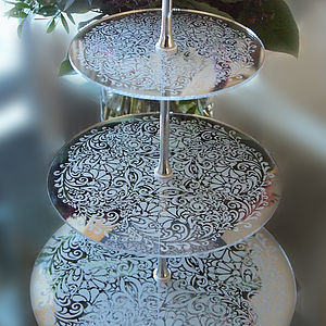 Engraved Three Tier Mirror Cake Stand - baking
