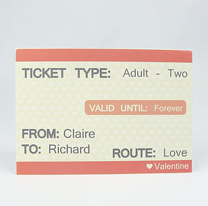 Personalised Ticket To Love Greeting Card