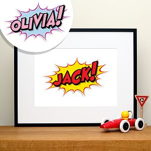 Personalised Comic Book Art Name Print - canvas prints & art for children
