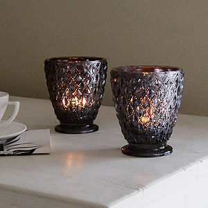 Violet Glass Candleholder - candles & candle holders