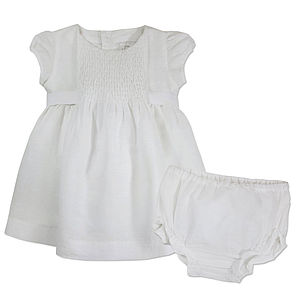 White Linen Christening Dress With Bloomers