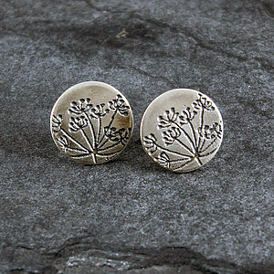 Cow Parsley Silver Stud Earrings