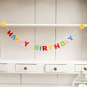 Felt Happy Birthday Garland - bunting & garlands