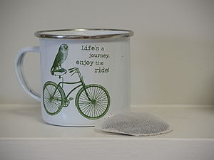 Life's A Journey, Owl And Bicycle Enamel Mug - cups & saucers