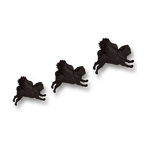 Black Flying Pugs Wall Art - decorative accessories
