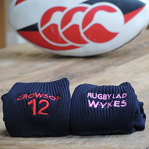 Personalised Rugby/Football Socks - stocking fillers under £15