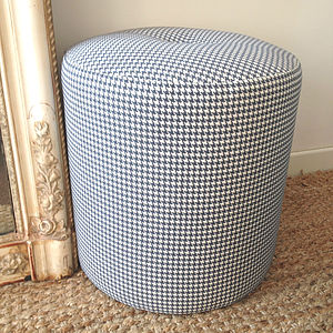 Round Houndstooth Pouffe