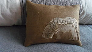 Appliquéd Shetland Pony Cushion