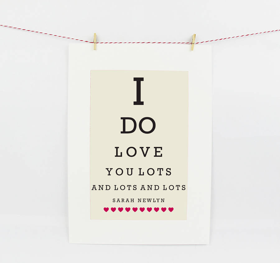 Personalised eye chart love print by sarah hurley for Valentine s day gifts for best friends