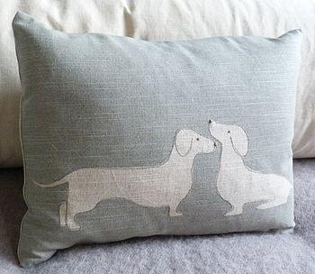 Hand Printed Sausage Dog Pair Cushion