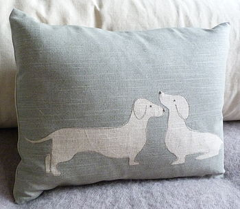 Hand Printed Sausage Dog Pair Cushion