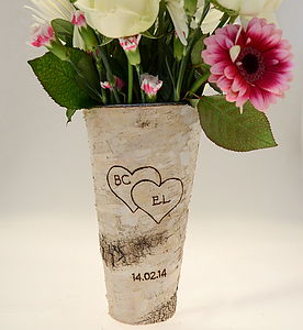 Personalised Romantic Birch Bark Vase - anniversary gifts