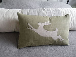 Linen Leaping Hare Cushion - cushions