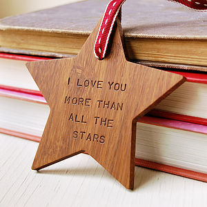 Personalised Valentine's Day Wooden Star - love tokens for him
