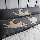 Hand Printed Triptych Hare Bolster