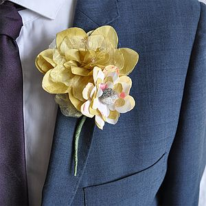Barley Paper Flower Buttonhole