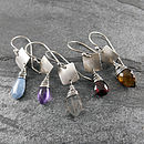 Gemstone And Silver Tab Earrings