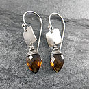 Whiskey Quartz Tab Earrings