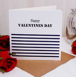 Nautical Stripe Personalised Valentines Card - seasonal cards