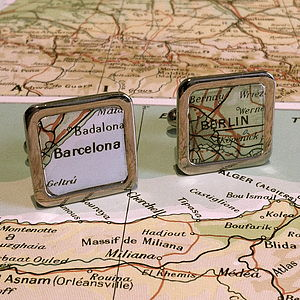 Personalised Square Vintage Map Cufflinks - cufflinks