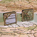 Square Vintage Map Cufflinks