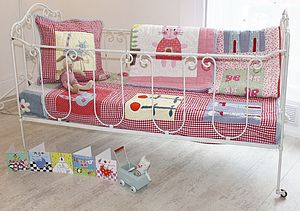 Childrens Cot Quilt Red Gingham - sleeping